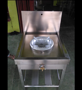 stainless steel high pressure gas burner wok, gas stove fabricator installation in sri lanka
