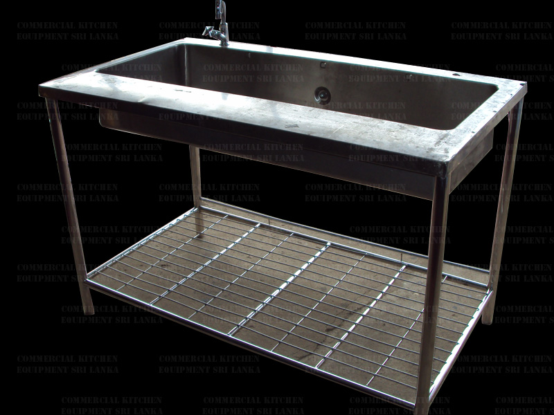 Hand Wash Sink With Under Shelf Stainless Steel Commercial Kitchen